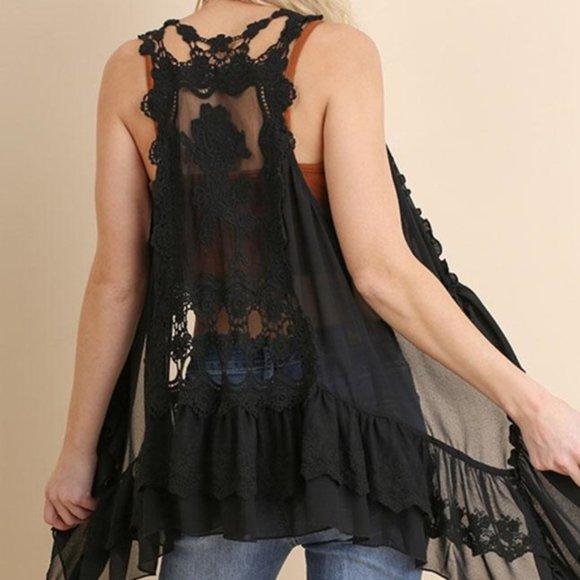 Umgee Black Lace Crochet Sheer Boho Vest S/M